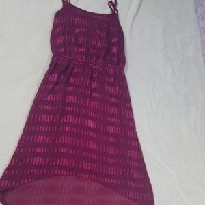 LOFT Size S high low dress bright pink summer